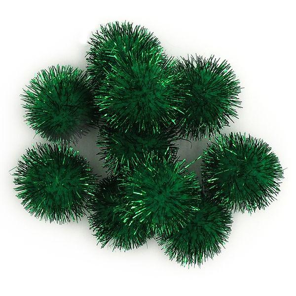 Pom Poms 13mm Glitter Green Pkt 100