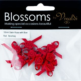 Flower Satin Rose with Bow 10mm Red 8Pcs