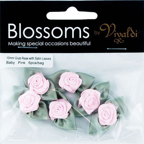 Grub Rose with Leaves 10mm Baby Pink 6Pc
