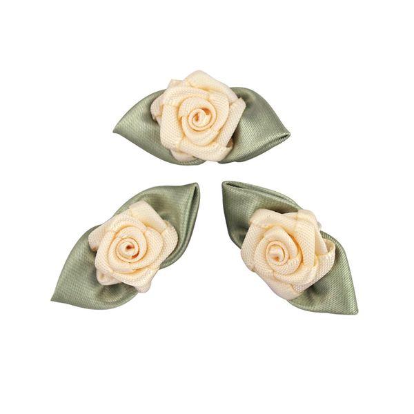 Grub Rose with Leaves 10mm Cream 6Pcs