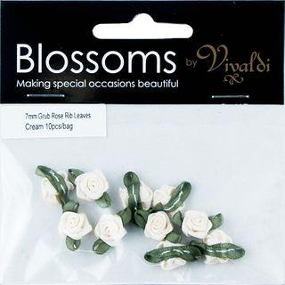 Grub Rose with Leaves 7mm Cream 10Pcs
