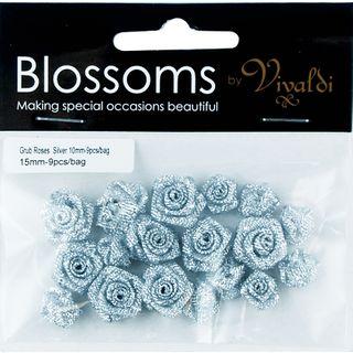 Flower Grub Rose Mixed Silver 18Pcs