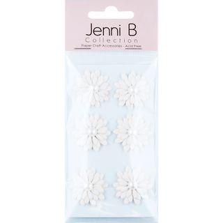 Jenni B  Paper Flower Pearl White 6Pcs