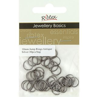 Jump Rings 10mm Antique Silver 30Pcs