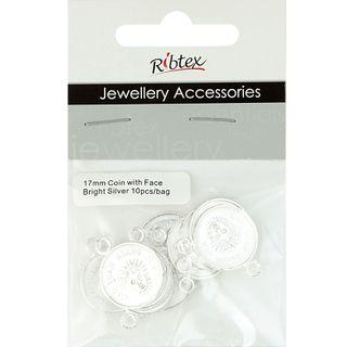 Charm - Coin 17mm Bright Silver 10Pcs