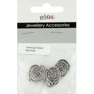 Charm - Coin 15mm Silver 8Pcs
