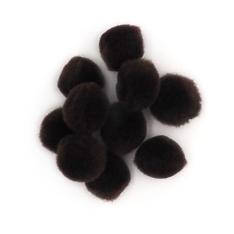 Pom Poms 13mm Brown Pkt 100