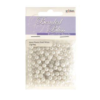 Bead Plastic Pearl 6Mm White 15G