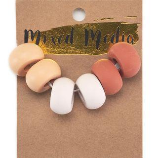 Clay Beads Blush Pink 6Pcs