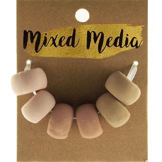 Clay Beads Natural Cream 6Pcs
