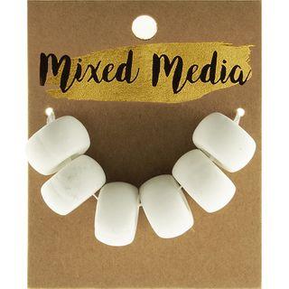 Clay Beads White 6Pcs