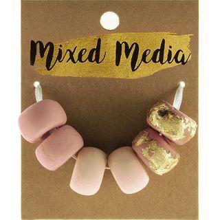 Clay Beads Metal Blush/Rose Gold 6Pcs