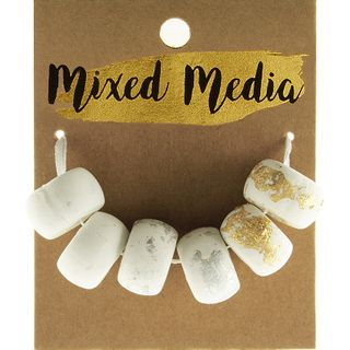 Clay Beads Metal White/Silver/Gold 6Pcs