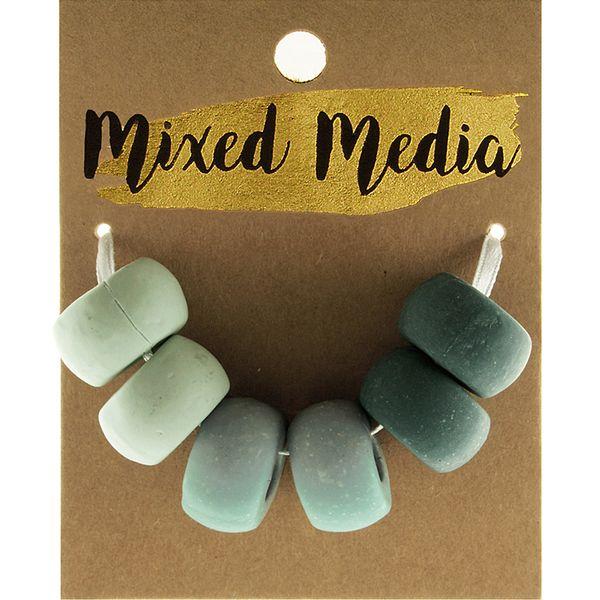 Clay Beads Green 6Pcs