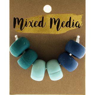 Clay Beads Blue 6Pcs