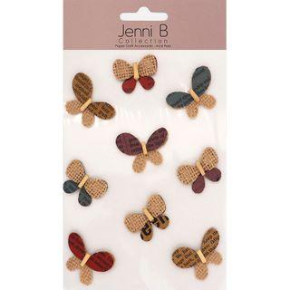 Jenni B Butterfly Burlap Print 9Pcs