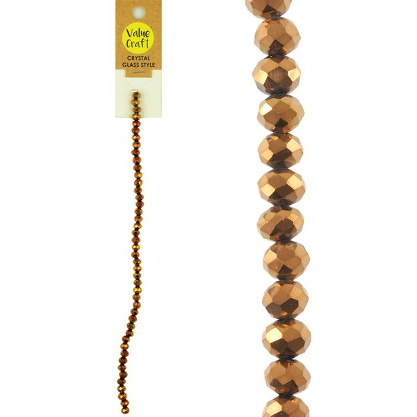 Glass Strung Beads Facet 6mm Copper AB