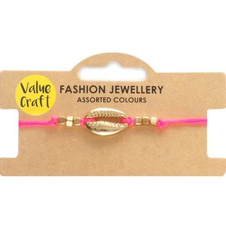 Bracelet Pink with Gold Shell 1Pc
