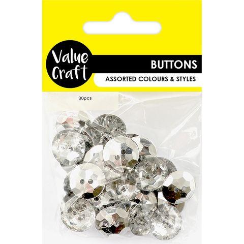 Button 1.7cm Round Clear 30Pcs