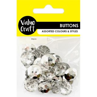 Acrylic Buttons 1.7cm Round Clear 30pcs