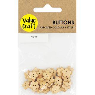 Flower 10mm Wood Button Natural 40pcs