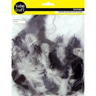 Craft Feathers Black-White-Grey 10G