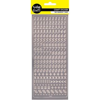 Flat Stickers - Peel Numbers Silver 1Pc