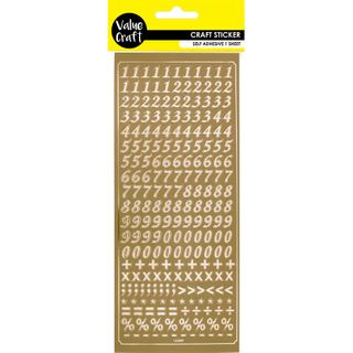 Flat Stickers - Peel Numbers Gold 1Pc