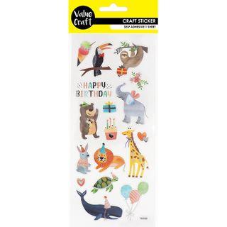 Craft Sticker Animals Happy Birthday