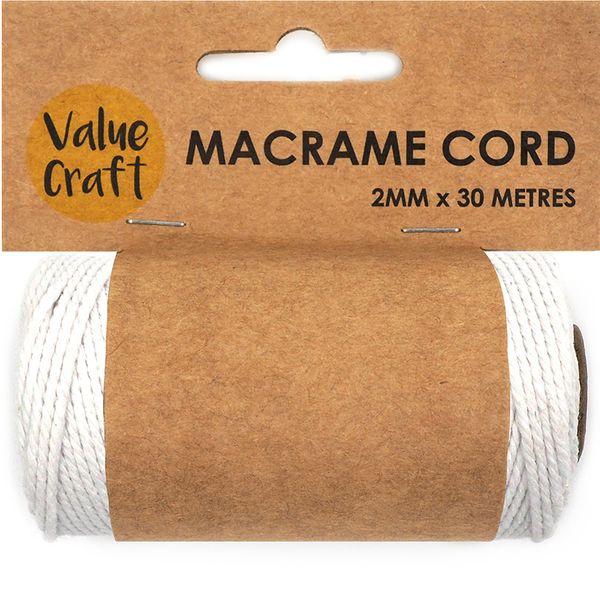 Cord Macrame 2mm White 30m