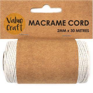 Cord Macrame 2mm Natural 30m