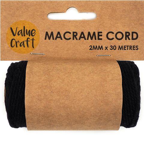 Cord Macrame 2mm Black 30m