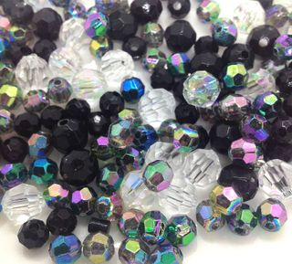 Craft Bead Faceted Black Mix 25G