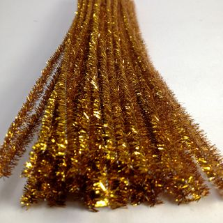 Chenille Tinsel 6mm Gold Pkt 50