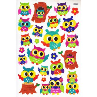 CC STKR FANCY SICKERS OWLS MULTI