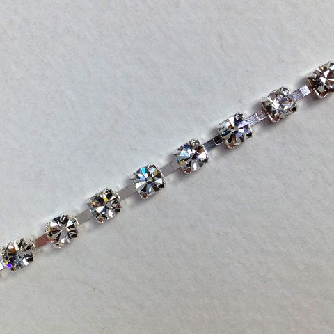 Rhinestone Trim Cry St/Slv Metal Back10m