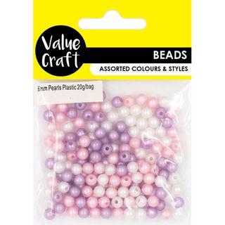 Bead Plastic Pearls 6Mm Mixed 20G