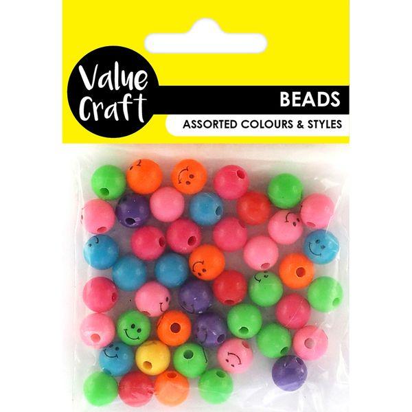 Bead Plastic Happy Face Asst 20G
