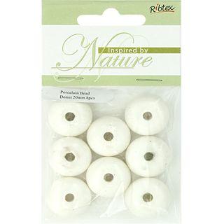 Bead Porcelain Donut 20mm White 8Pcs
