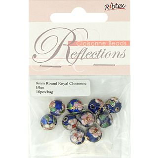 Bead Cloisonne Round 8mm Royal 10Pcs