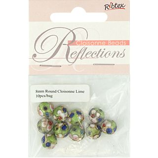 Bead Cloisonne Round 8mm Lime 10Pcs