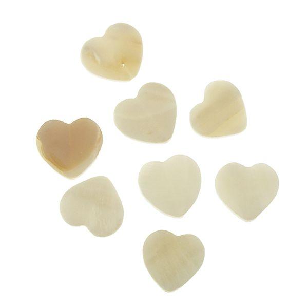 Bead Shell 14mm Heart Natural 8Pcs
