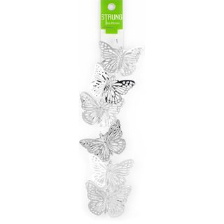 Strung Pressed Metal Butterfly Silver