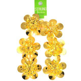 Strung Pressed Metal Round Flower Gold