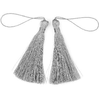 Craft Tassel 70mm Metallic Silver 4Pcs