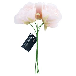 Flower Poly Rose Bunch 5H Pink 1Ch