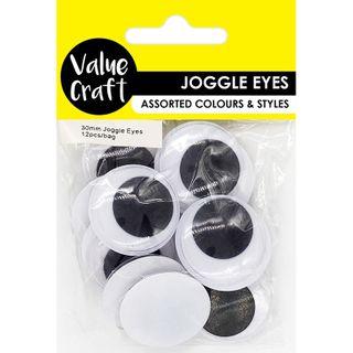 Craft Joggle Eye Round 30mm 12Pcs