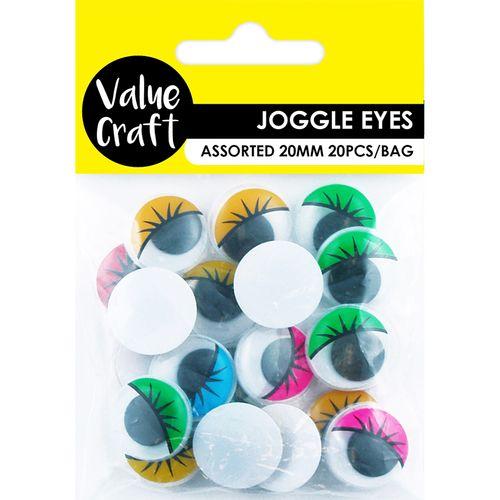 Craft Joggle Eye Round 20mm Assorted