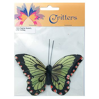 Butterfly Feather 12cm Lime