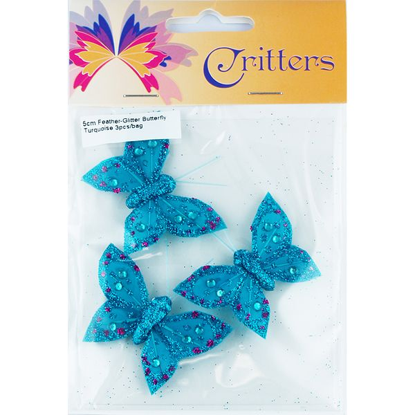 Butterfly Feather Glitter 5cm Turquoise